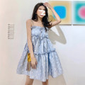 Dress Spring 2021 Picture color S M L Short skirt singleton  Sleeveless Sweet One word collar High waist Decor Socket A-line skirt routine camisole 18-24 years old Type A Yue Zun printing More than 95% other Other 100% Mori