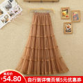 skirt Spring 2021 Average size White black apricot Khaki Pink Mid length dress commute High waist Cake skirt Solid color Type A other Zhuo Ziqi Mesh stitching lace Korean version Pure e-commerce (online only)