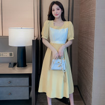 Dress Summer 2021 Blue yellow S M L XL Mid length dress singleton  Long sleeves commute other High waist Solid color other other Others 25-29 years old Type A Art chapter Korean version More than 95% polyester fiber Polyester 100% Pure e-commerce (online only)