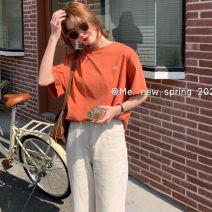 T-shirt White, orange Average size Summer 2021 Short sleeve Crew neck easy Regular routine commute cotton 96% and above 25-29 years old Korean version youth Solid color, letter printing