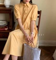 Dress Summer 2021 Yellow, white, navy Average size Mid length dress singleton  Short sleeve commute Crew neck High waist Solid color Socket A-line skirt routine Others 25-29 years old Type A Korean version Bows, buttons, zippers 71% (inclusive) - 80% (inclusive) brocade cotton
