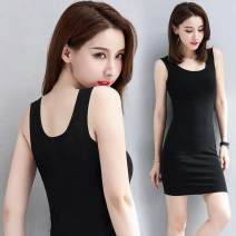 Dress Summer 2021 S (below 85 kg), XL (105 ~ 115 kg), 5XL (155 ~ 180 kg), 3XL (125 ~ 135 kg), m (85 ~ 95 kg), 2XL (115 ~ 125 kg), l (95 ~ 105 kg), 4XL (135 ~ 155 kg) Mid length dress singleton  Sleeveless commute Crew neck middle-waisted Solid color Socket One pace skirt camisole 30-34 years old