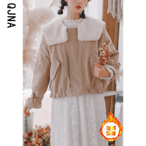 short coat Winter 2020 S M L Apricot army green Long sleeves routine thickening singleton  Straight cylinder commute routine Lotus leaf collar zipper Solid color 18-24 years old Qingjiaona 96% and above QJN3727 other Other 100% Pure e-commerce (online only)