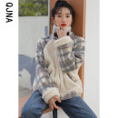 woolen coat Winter 2020 S M L Picture color other 95% and above routine Long sleeves commute zipper routine stand collar lattice Straight cylinder Korean version Qingjiaona 18-24 years old Splicing Solid color Other 100% Pure e-commerce (online only)