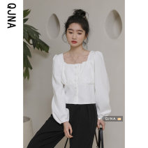 shirt White apricot S M L Spring 2021 other 96% and above Long sleeves commute Regular square neck Single row multi button routine Solid color 18-24 years old Straight cylinder Qingjiaona Korean version QJN8655 Button Other 100% Pure e-commerce (online only)