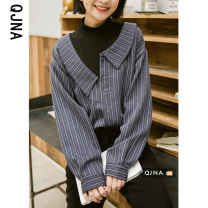 shirt Blue Khaki S M L Spring 2021 other 96% and above Long sleeves commute Regular Polo collar Single row multi button shirt sleeve stripe 18-24 years old Self cultivation Qingjiaona Korean version QJN3426 Other 100% Pure e-commerce (online only)