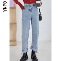 Jeans Winter 2020 wathet S M L Ninth pants High waist Straight pants routine 18-24 years old Make old buttons light colour Qingjiaona 96% and above Other 100% Pure e-commerce (online only)