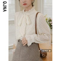 shirt Milk apricot S M L Spring 2021 other 96% and above Long sleeves commute Regular stand collar Single row multi button Lotus leaf sleeve Solid color 18-24 years old Self cultivation Qingjiaona Korean version QJN3570 bow Other 100% Pure e-commerce (online only)