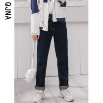 Jeans Winter 2020 Picture color S M L Ninth pants High waist Straight pants routine 18-24 years old Make old Multi Pocket button Dark color QJN02388 Qingjiaona 96% and above Other 100% Pure e-commerce (online only)