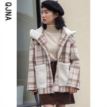 woolen coat Winter 2020 S M L Picture color other 95% and above routine Long sleeves commute zipper routine Hood lattice Straight cylinder Korean version QJN9902 Qingjiaona 18-24 years old pocket Solid color Other 100% Pure e-commerce (online only)