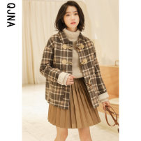 woolen coat Winter 2020 Average size lattice other 95% and above routine Long sleeves commute Ox horn buckle routine Polo collar lattice Straight cylinder Korean version QJN6223 Qingjiaona 18-24 years old Button Solid color Other 100% Pure e-commerce (online only)