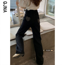 Jeans Spring 2021 S M L trousers High waist Wide legged trousers routine 18-24 years old washing Cotton denim Dark color Qingjiaona 96% and above Other 100% Pure e-commerce (online only)
