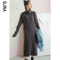Dress Winter 2020 Grey apricot white Khaki S M L Mid length dress singleton  Long sleeves commute High collar Loose waist Solid color Socket other routine Others 18-24 years old Type H Qingjiaona Korean version QJN1908 More than 95% other other Other 100% Pure e-commerce (online only)
