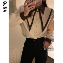 shirt Red, black, apricot S M L Spring 2021 other 96% and above Long sleeves Versatile Regular Doll Collar Single row multi button routine Solid color 18-24 years old Straight cylinder Qingjiaona QJN1367 Other 100% Pure e-commerce (online only) Hemp cotton