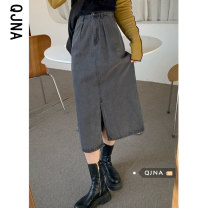 skirt Spring 2021 S M L grey Mid length dress commute High waist A-line skirt Solid color Type A 18-24 years old QJN5123 More than 95% Denim Qingjiaona other pocket Korean version Other 100% Pure e-commerce (online only)
