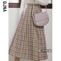 skirt Spring 2021 S M L Taro mud Bobo Wizard of Oz Mid length dress commute Natural waist Pleated skirt lattice 18-24 years old QJN8843 More than 95% Qingjiaona other Korean version Other 100% Pure e-commerce (online only)