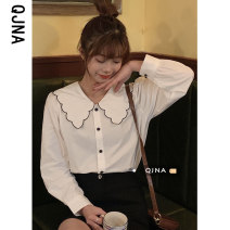 shirt White black S M L Spring 2021 other 96% and above Long sleeves commute Regular Doll Collar Single row multi button routine lattice 18-24 years old Straight cylinder Qingjiaona Korean version NQJN2421 Button Other 100% Pure e-commerce (online only) cotton