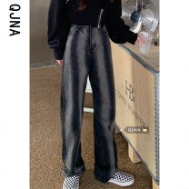 Jeans Spring 2021 S M L trousers High waist Straight pants routine 18-24 years old washing Cotton denim Dark color Qingjiaona 96% and above Other 100% Pure e-commerce (online only)