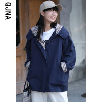 short coat Winter 2020 S M L Grey blue Long sleeves routine routine singleton  easy commute routine Hood zipper other 18-24 years old Qingjiaona 96% and above pocket QJN8034 other Other 100% Pure e-commerce (online only)