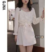 shirt White apricot S M L Spring 2021 other 96% and above Long sleeves Sweet Regular square neck Socket routine other 18-24 years old Self cultivation Qingjiaona NQJN8655 Frenulum Other 100% Pure e-commerce (online only) Mori blending