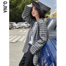 woolen coat Winter 2020 S M L lattice other 95% and above routine Long sleeves commute Single breasted routine tailored collar lattice Straight cylinder Korean version QJN02503 Qingjiaona 18-24 years old Button pocket Other 100% Pure e-commerce (online only)
