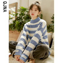 sweater Winter 2020 S M L Pink green blue Long sleeves Socket singleton  have cash less than that is registered in the accounts other 95% and above Half high collar thickening commute routine stripe Straight cylinder 18-24 years old Qingjiaona Other 100% Pure e-commerce (online only)