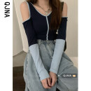 T-shirt Navy Blue S M L Spring 2021 Long sleeves V-neck Self cultivation Super short routine commute other 96% and above 18-24 years old Retro other Qingjiaona Other 100% Pure e-commerce (online only)