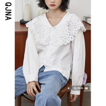 shirt white S M L Spring 2021 other 96% and above Long sleeves commute Regular V-neck Socket shirt sleeve Solid color 18-24 years old Self cultivation Qingjiaona Korean version QJN8823 Other 100% Pure e-commerce (online only)