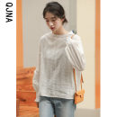 Lace / Chiffon Winter 2020 white S M L Long sleeves commute Socket singleton  easy Regular Crew neck Solid color bishop sleeve 18-24 years old Qingjiaona QJN8005 Hollowing out Korean version 96% and above Other 100% Pure e-commerce (online only)
