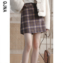 skirt Winter 2020 S M L Brown Short skirt commute Natural waist A-line skirt lattice Type A 18-24 years old QJN9670 More than 95% Qingjiaona other Korean version Other 100% Pure e-commerce (online only)