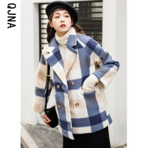 woolen coat Winter 2020 S M L XL Picture color other 95% and above Medium length Long sleeves Sweet double-breasted routine tailored collar lattice Straight cylinder Qingjiaona 18-24 years old Button Other 100% Pure e-commerce (online only) solar system