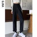 Jeans Spring 2021 Blue black S M L trousers High waist Straight pants routine 18-24 years old zipper Cotton denim Dark color QJN5100/1 Qingjiaona 96% and above Other 100% Pure e-commerce (online only)