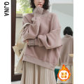 Sweater / sweater Winter 2020 Black Plush lotus root color Plush black regular lotus root color routine S M L Long sleeves routine Socket singleton  Plush High collar easy commute routine Solid color 18-24 years old 96% and above Qingjiaona Korean version other 715B Intradermal bile duct Other 100%