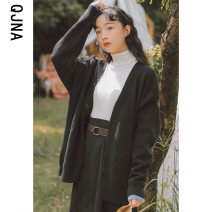 short coat Winter 2020 S M L Grey black Long sleeves routine routine singleton  Straight cylinder commute routine V-neck Single breasted Solid color 18-24 years old Qingjiaona 96% and above QJN5672 other Other 100% Pure e-commerce (online only)