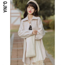 woolen coat Winter 2020 S M L Green apricot other 95% and above Medium length Long sleeves commute Single breasted routine Polo collar Solid color Straight cylinder Korean version QJN9821 Qingjiaona 18-24 years old Button Solid color Other 100% Pure e-commerce (online only)