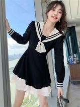 Women's large Autumn 2020 Black dress S,M,L,XL Dress singleton  Sweet Self cultivation moderate Socket Long sleeves Solid color Admiral have cash less than that is registered in the accounts polyester fiber Collage routine Other 18-24 years old Three dimensional decoration Short skirt Ruffle Skirt