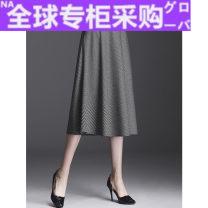 skirt Winter 2020 M,L,XL,2XL,3XL,4XL lattice Mid length dress commute High waist A-line skirt lattice Type A MD72 More than 95% Wool nylon Retro