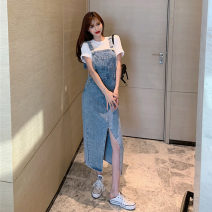 Dress Summer 2021 Black blue S M L longuette singleton  Sleeveless commute square neck High waist Solid color Socket One pace skirt routine straps 18-24 years old Chenlinlu pocket More than 95% Denim other Other 100% Pure e-commerce (online only)