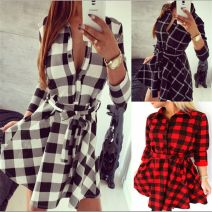 Dress Autumn of 2018 Red, black, white S,M,L,XL,XXL Miniskirt singleton  Long sleeves street V-neck High waist Single breasted Irregular skirt 18-24 years old Other A211# More than 95% cotton Europe and America