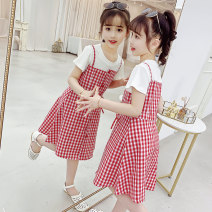 Dress Red, yellow female Tagkita / she and others 110cm,120cm,130cm,140cm,150cm,160cm,170cm Cotton 100% summer leisure time Short sleeve lattice Pure cotton (100% cotton content) Splicing style Class B 14, 3, 5, 9, 12, 7, 8, 6, 13, 11, 4, 10 Chinese Mainland