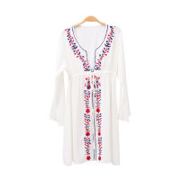 Beach coat Embroidered long sleeve blouse Average size Other / other Embroidered smock