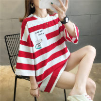T-shirt Pink Red Black M L XL XXL Summer 2020 Short sleeve Crew neck easy Medium length routine commute polyester fiber 86% (inclusive) -95% (inclusive) 18-24 years old originality Polyester 95% polyurethane elastic fiber (spandex) 5%