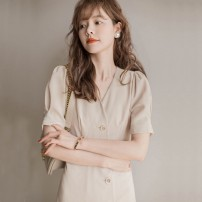 Dress Summer 2021 Apricot S,M,L,XL Middle-skirt singleton  Short sleeve commute V-neck middle-waisted Solid color Single breasted A-line skirt puff sleeve Others 25-29 years old Type A Zixin Korean version Printing, splicing More than 95% Chiffon nylon