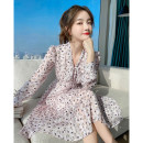 Dress Spring 2021 Pink flowers S M L XL Mid length dress singleton  Long sleeves commute V-neck High waist Decor Socket A-line skirt routine Others 25-29 years old Type A Tong Shiyao lady Bow fold printing 81% (inclusive) - 90% (inclusive) Chiffon polyester fiber Polyester 90% other 10%