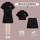 Women's large Summer 2021 black suit  Large L Large XL Large 2XL large 3XL large 4XL Other oversize styles Two piece set commute easy thin Socket Short sleeve Solid color Polo collar routine cotton Three dimensional cutting routine XHA-2F020-8242 Hin coast 18-24 years old Button Short skirt shorts