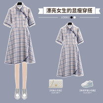 cheongsam Summer 2021 M L XL 2XL 3XL 4XL Plaid cheongsam dress Short sleeve Short cheongsam Retro No slits daily Oblique lapel lattice 18-25 years old Piping XHA - 3F056 - nine hundred and thirty-six Hin coast other Other 100% Pure e-commerce (online only) 96% and above