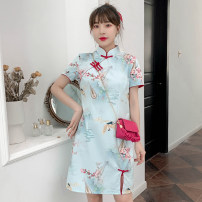 cheongsam Summer 2021 M L XL 2XL 3XL 4XL Light blue dress cheongsam Short sleeve Short cheongsam grace Low slit daily Oblique lapel Big flower 18-25 years old Piping XHA-4F033-5068 Hin coast cotton Cotton 96% other 4% Pure e-commerce (online only) 96% and above
