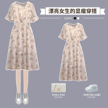 Dress Summer 2021 White Chiffon floral skirt M L XL 2XL 3XL 4XL longuette singleton  Short sleeve commute V-neck High waist Decor Socket A-line skirt routine 25-29 years old Hin coast Korean version printing XHA - 3F137 - eight thousand and forty-six - A More than 95% Chiffon other Other 100%