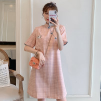 cheongsam Summer 2021 M L XL 2XL 3XL 4XL Pink cheongsam dress Short sleeve Short cheongsam Retro Low slit daily Ruyi lapel lattice 18-25 years old Piping Hin coast other Other 100% Pure e-commerce (online only) 31% (inclusive) - 50% (inclusive)