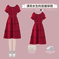 Dress / evening wear wedding L XL 2XL 3XL 4XL 5XL Black dress red dress Sweet longuette High waist Summer 2021 A-line skirt One shoulder 18-25 years old XHA - 4F092 - two thousand one hundred and eighty-six Solid color Hin coast routine Other 100% Pure e-commerce (online only)